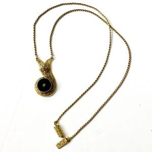 1928 Victorian Inspired Necklace Black Gold
